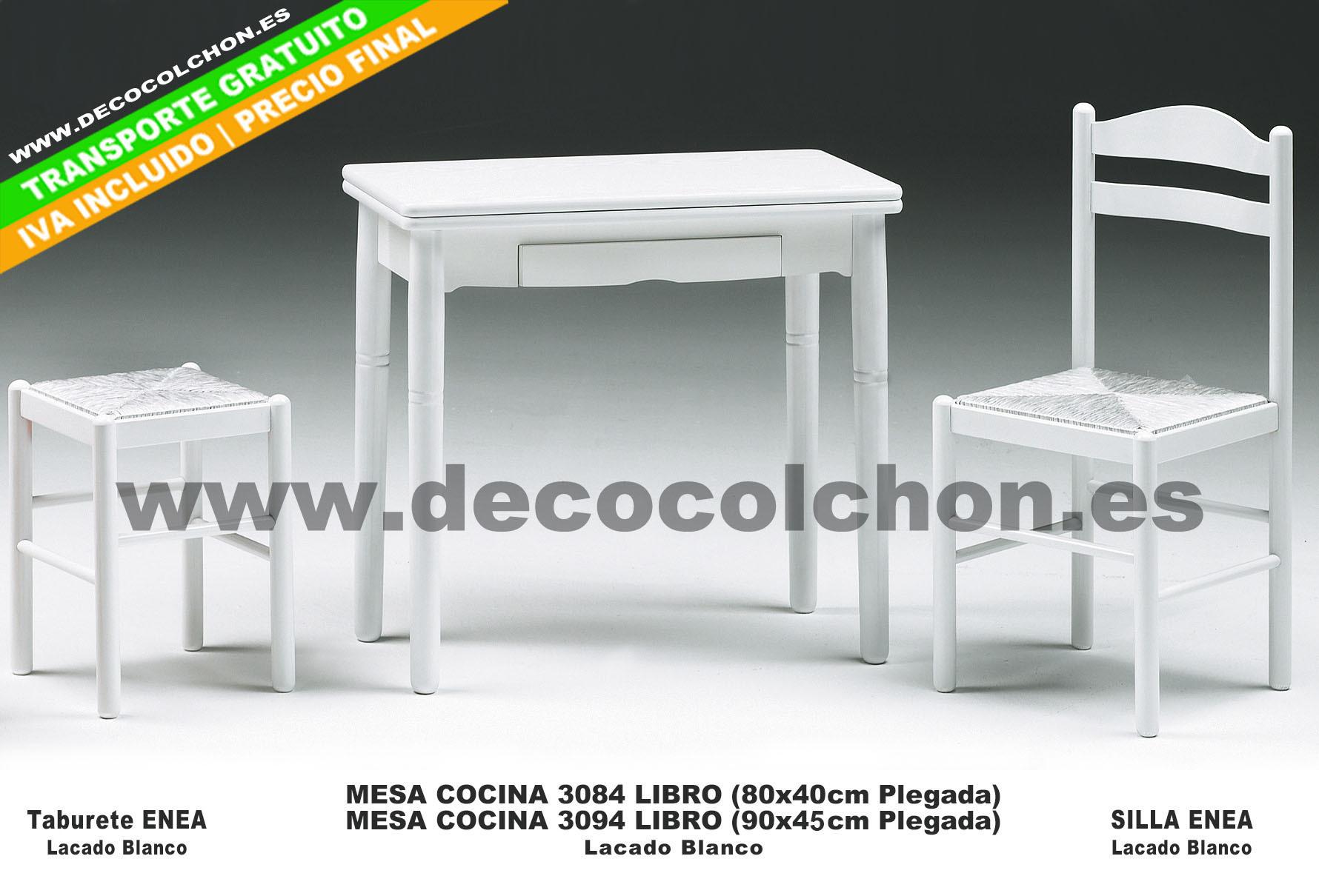 Mesa cocina 3084 decora descans complementos mueble hogar for Mesas de cocina blancas