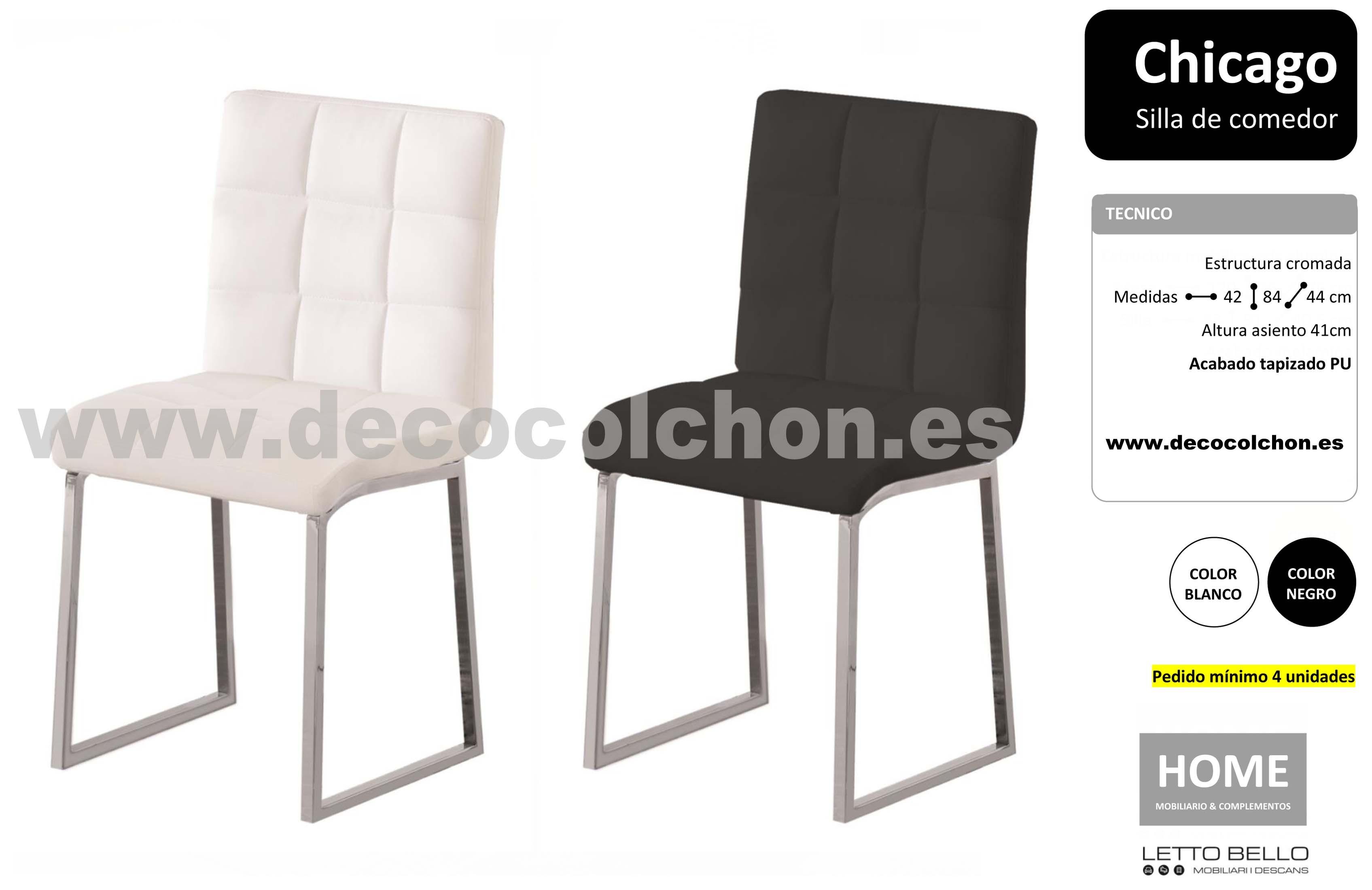 Silla chicago pack 4 unidades decora descans colch n for Pack sillas comedor