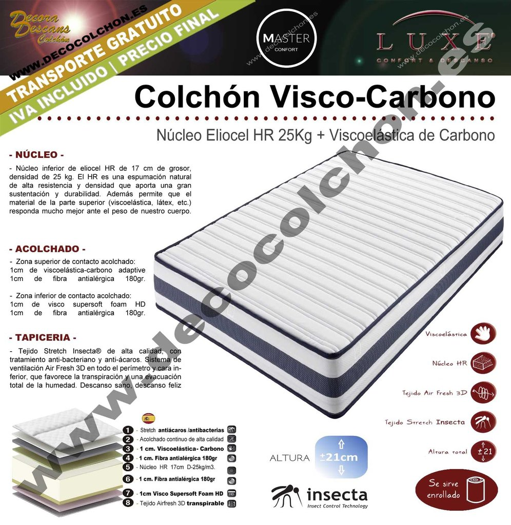 COLCHON VISCO CARBONO