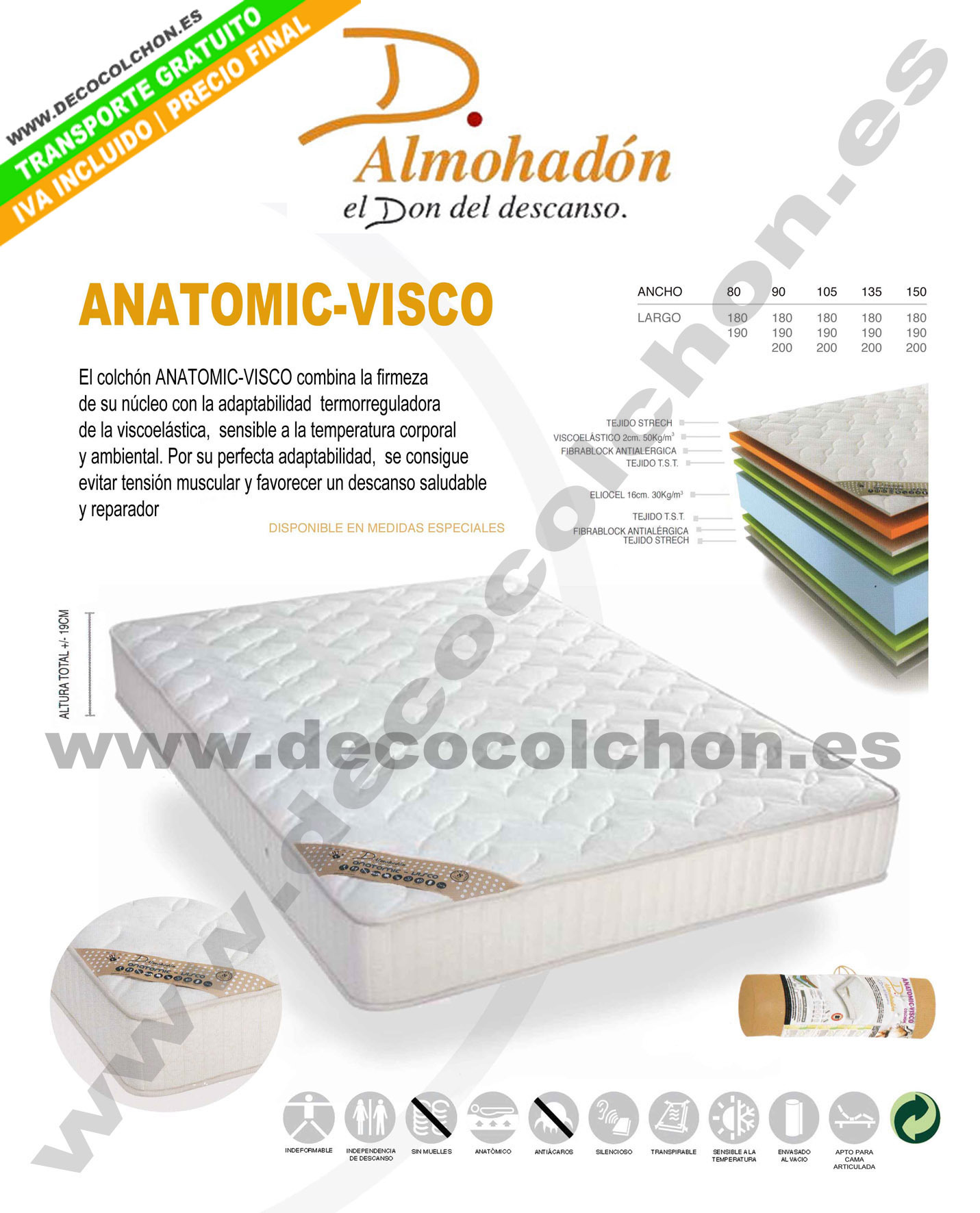 COLCHON ANATOMIC-VISCO de Don Almohadón | Decora Descans Colchón